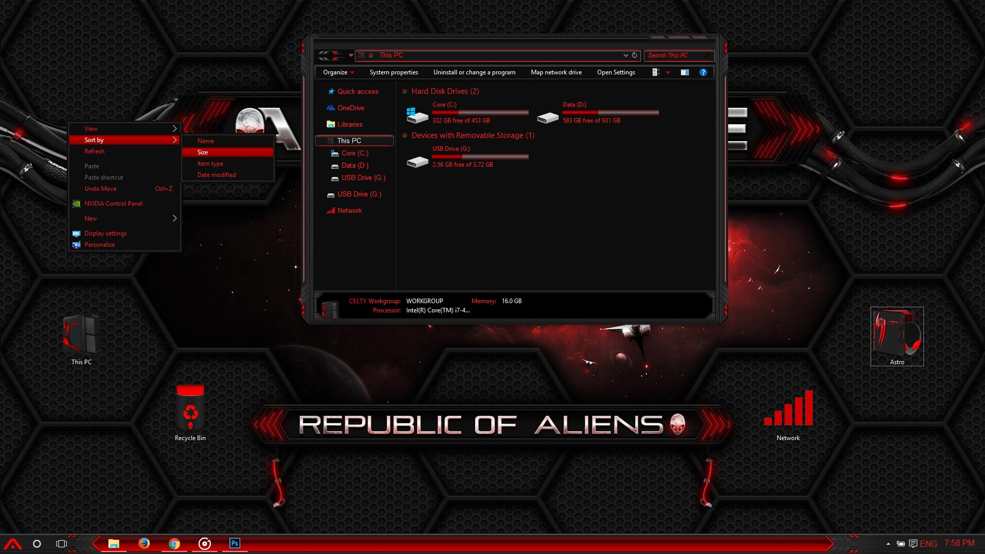 alienware red windows 10 theme
