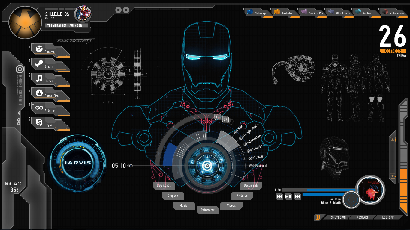 Shield Iron Man Theme For Windows 10 8 7