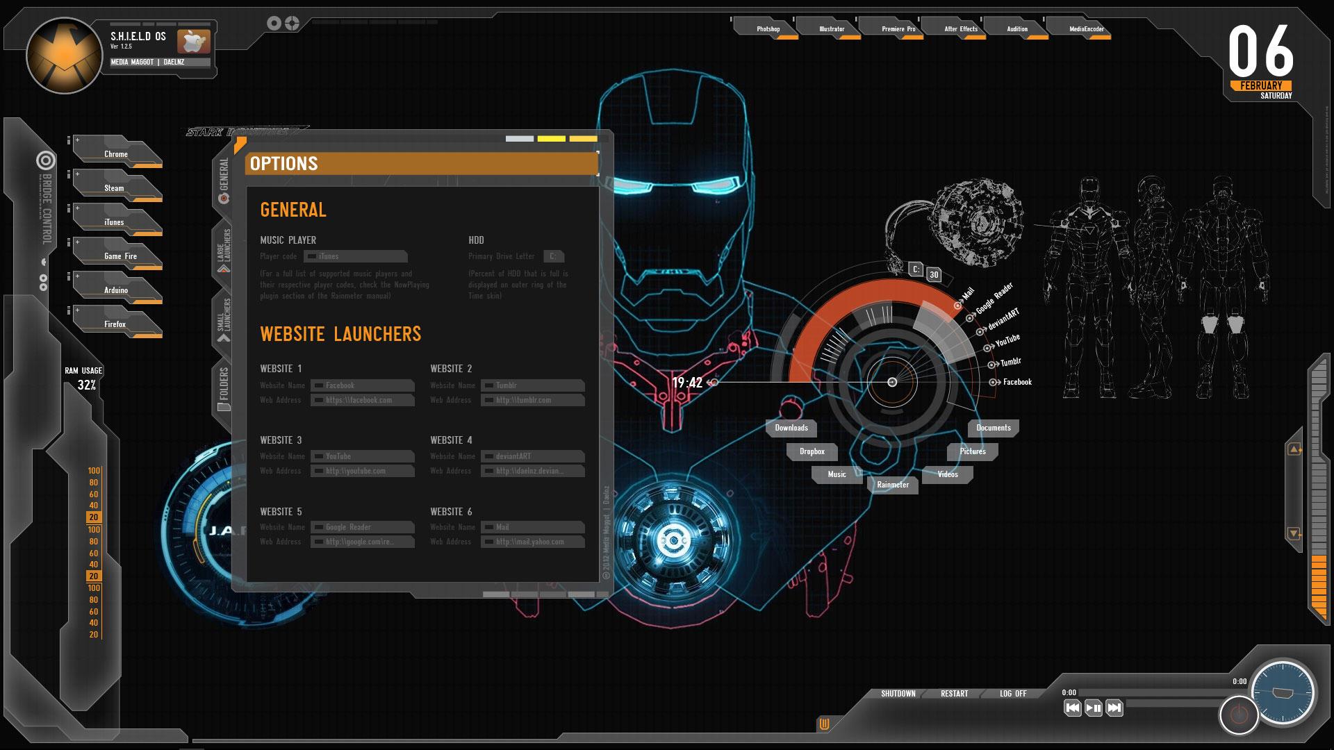 Google chrome theme iron man - Shield Skin Default